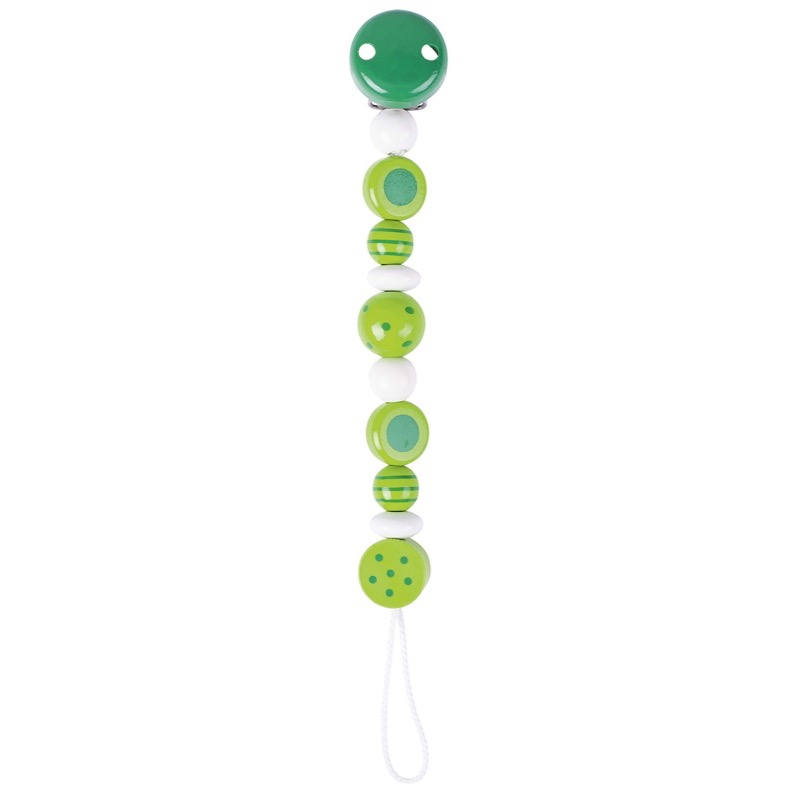 Green Spot & Stripe Soother Chain by Heimess (732440) | LeVida Baby