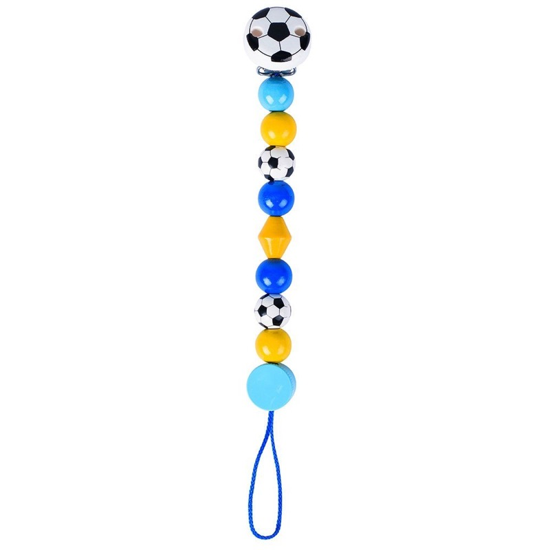 Wooden Football (Blue/Yellow) Soother Chain by Heimess (763600) | LeVida Baby