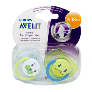 Avent Animal Soother Twin Pack: 618m (Dog/Frog)