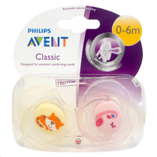 Avent Classic Soother Twin Pack: 0-6m+ (Tiger/Flamingo)