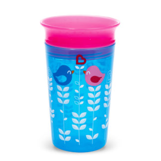 Munchkin Miracle 360° Deco Sippy Cup: 12m (Blue & Pink Bird)
