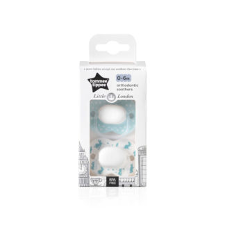 Tommee Tippee Little London Soother Twin Pack: 0-6m (Rabbits)