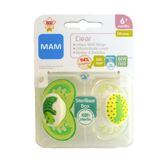 Mam Clear Soother Twin Pack: 6m+ (Rhino /Crocodile)
