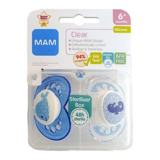 Mam Clear Soother Twin Pack: 6m+ (Whale/Seahorse)