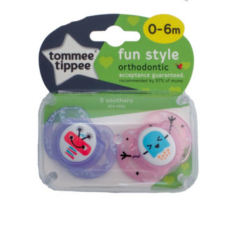 Tommee Tippee Fun Style Soother Twin Pack: 0-6m (Robot - Pink/Purple)