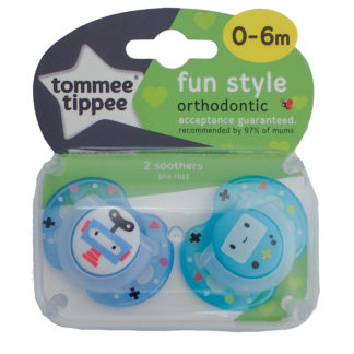 Tommee Tippee Fun Style Soother Twin Pack: 0-6m (Robot - Blue)