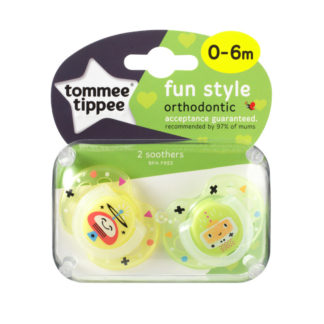 Tommee Tippee Fun Style Soother Twin Pack: 0-6m (Yellow / Green)