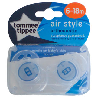 Tommee Tippee Air Style Soother Twin Pack: 6-18m (Clear / Blue)