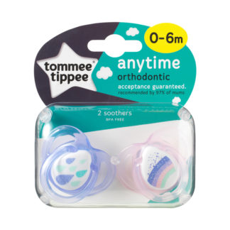 Tommee Tippee Any Time Soother Twin Pack: 0-6m (Raindrops / Rainbow)
