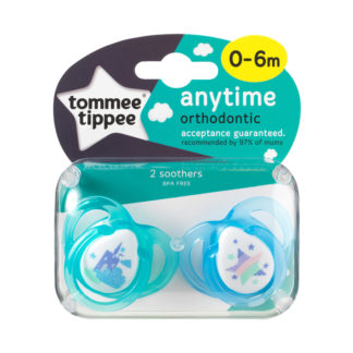 Tommee Tippee Any Time Soother Twin Pack: 0-6m (Castle / Stars)