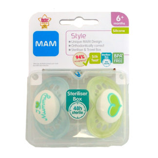 MAM Style Soother Twin Pack - 6m+ (I Love Mummy - Blue/Green)