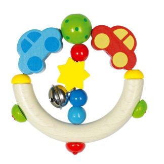 Car Touch Ring Colourful Wooden Baby Toy by Heimess | LeVida Baby