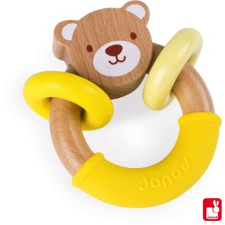 Janod Baby Pop Bear Rattle Ring (J04605) | LeVida Baby