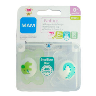 Mam Nature Soother Twin Pack: 0m+ (Elephant / Crocodlie)
