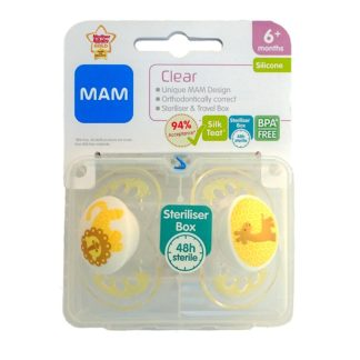 Mam Clear Soother Twin Pack 6m+ (Lion/Giraffe)