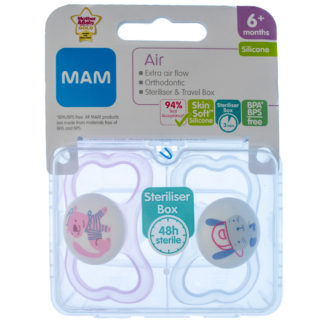 MAM Air Soother Twin Pack: 6m+ (Pink Dogs)