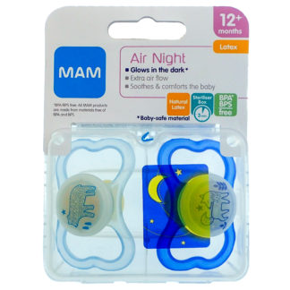 MAM Air Night Latex Soother Twin Pack: 12m+ (Polar Bear/Fox)