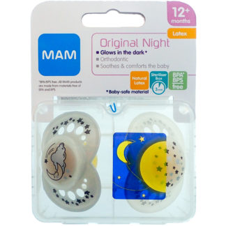 MAM Night Latex Soother Twin Pack: 12m+ (Moon & Stars)