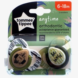 Tommee Tippee Any Time Soother Twin Pack: 6-18m (Be Wild)