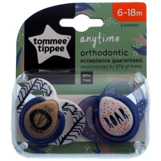 Tommee Tippee Any Time Soother Twin Pack: 6-18m (Roar)