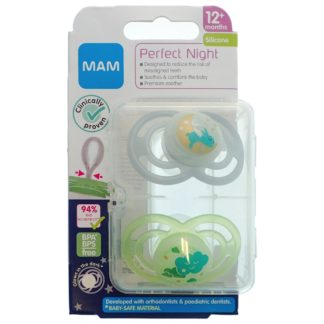 MAM Perfect Night Soother Twin Pack: 12m+ (Rabbit/Cloud)