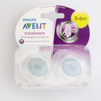 Avent Translucent Soother x 2 - Turquoise / Blue - 0-6m