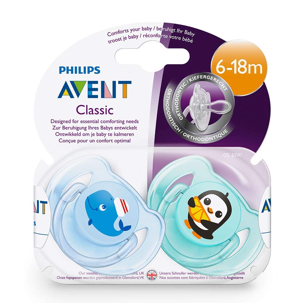 Avent Classic Soother Twin Pack: 6-18m+ (Whale/Penguin)