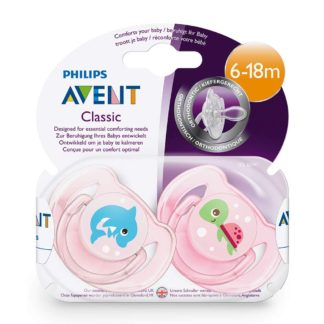 Avent Classic Soother Twin Pack: 6-18m+ (Dolphin/Turtle)