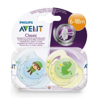 Avent Classic Soother Twin Pack: 6-18m+ (Elf/Dragon)