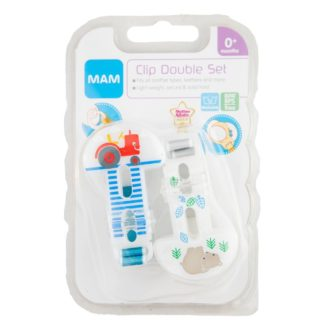 MAM Clip Soother Saver Double Set: 0m+ (Tractor/Bear)