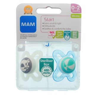 MAM Start Soother Twin Pack: 0-2m (Elephant/Ball)