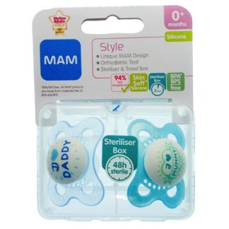 MAM Style Soother Twin Pack: 0m+ (I Love Mummy & I Love Daddy - Blue)