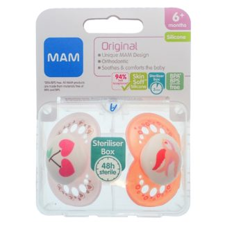 Mam Original Soother Twin Pack: 6m+ (Cherry/Bird)
