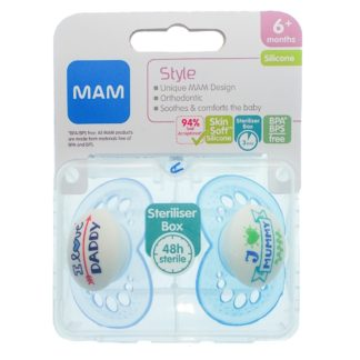MAM Style Soother Twin Pack: 6m+ I Love Mummy & I Love Daddy (Blue)