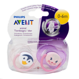 Avent Animal Soother x 2 - Penguin/Cat - 0-6m