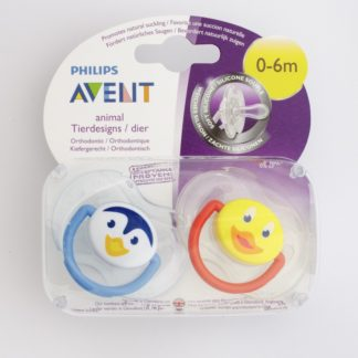 Avent Animal Soother Twin Pack: 0-6m (Penguin / Duck)