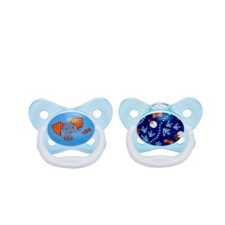 Dr Brown's PreVent Soother Twin Pack: 6-18m (Blue Elephant)