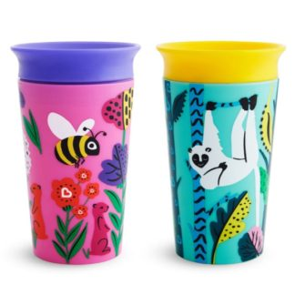Munchkin Miracle 360 WildLove Sippy Cup Twin Pack: 12m+ (Lemur/Bee)