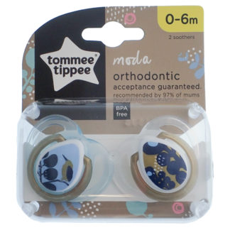 Tommee Tippee Moda Soother Twin Pack: 0-6m (Bird)
