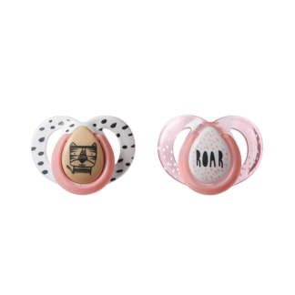 Tommee Tippee Any Time Soother Twin Pack: 6-18m (Roar Pink/White)
