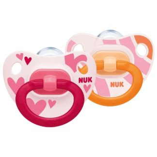 NUK Happy Days Soother Twin Pack: 6-18m (Pink/Orange)