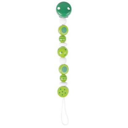 Green Spot & Stripe Soother Chain by Heimess (732440)   LeVida Baby
