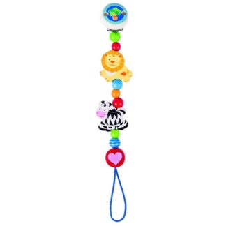 Wooden African Animals Soother Chain by Heimess (735890) | LeVida Baby
