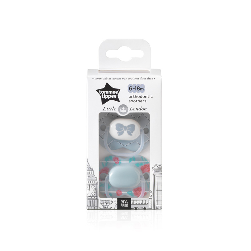 Tommee Tippee Little London Soother Twin Pack: 6-18m (Light Blue - Bow/Rose)