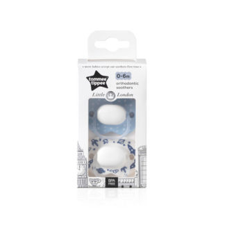 Tommee Tippee Little London Soother Twin Pack: 0-6m (Space)