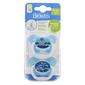 Dr Brown's Soother Twin Pack: 0-6m (Blue Whale)