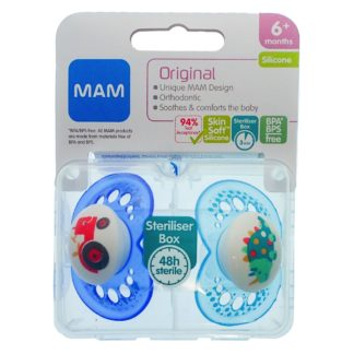Mam Original Soother Twin Pack: 6m+ (Tractor/Dinosaur)