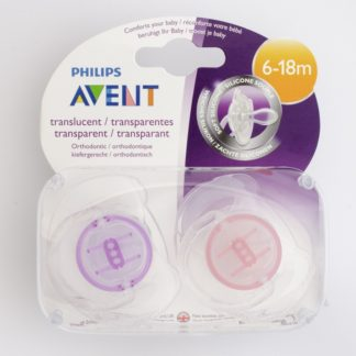 Avent Translucent Soother x 2 - Purple/Pink - 6-18m