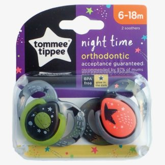 Tommee Tippee Night Time Soother Twin Pack - 6-18m (Grey Space)