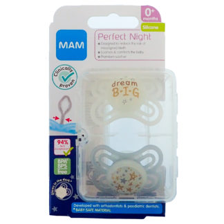 MAM Perfect Night Soother Twin Pack: 0m+ (Dream Big)